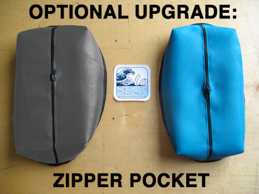 """Optional Upgrade: Zipper Pocket. The pocket dimensions are roughly 10""""x15"""" and 3"""" tall. Dimensions may vary slightly depending on the specific trampoline."""
