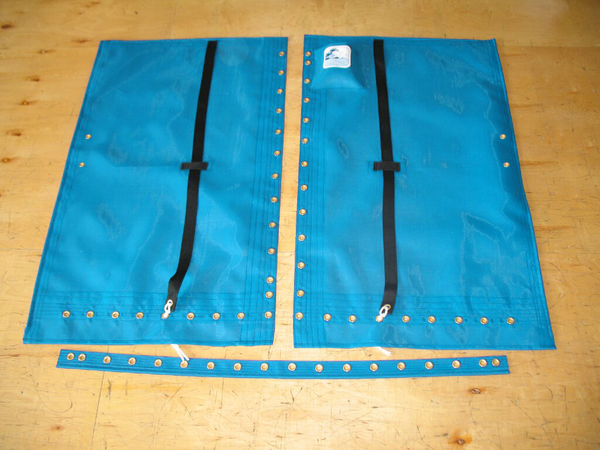 """3pc premium mesh Trampoline to fit a Hobie® 16 catamaran made in America by skilled artisans at SLO Sail and Canvas. Hand pounded #4 brass spur grommets. Adjustable hiking straps made of 2"""" polypropylene webbing. 12"""" X 12"""" Halyard pocket, included. Built-in aft line catcher, included."""