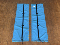 """2pc Trampoline to fit a Hobie Getaway catamaran made in America by skilled artisans at SLO Sail and Canvas. 12"""" X 12"""" halyard pocket, included. Hand pounded #4 brass spur grommets. Adjustable hiking straps made of 3"""" Polypropylene webbing. Shown in Textilene 90 Lake Blue premium mesh."""