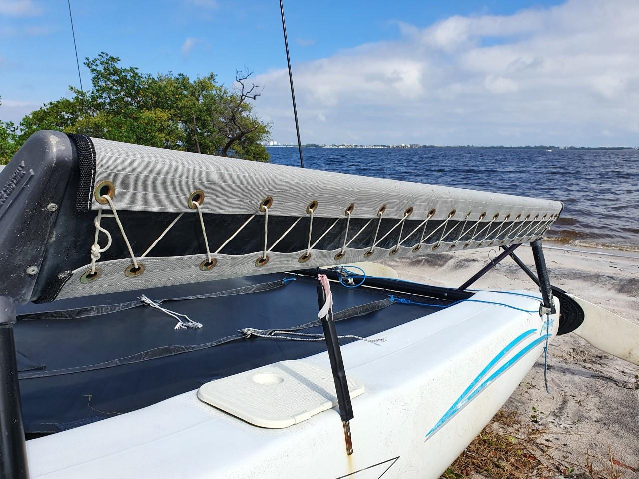 Lace-on Trampoline Wing Set to fit a Hobie Getaway catamaran shown in Textilene 90 Dusk Grey.