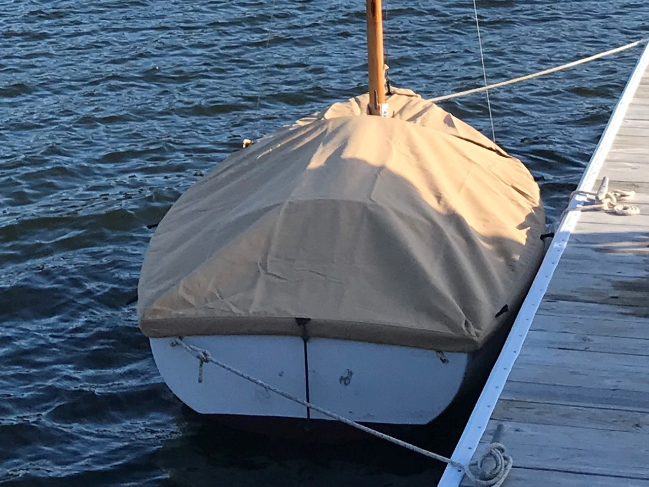Use SLO Sail and Canvas' Mooring Cover to protect your boat while in storage, or when in the water.