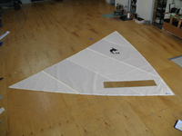 Dolphin Sr. White Dacron Sail made in the USA by SLO Sail and Canvas from high quality 4oz. Dacron sailcloth.