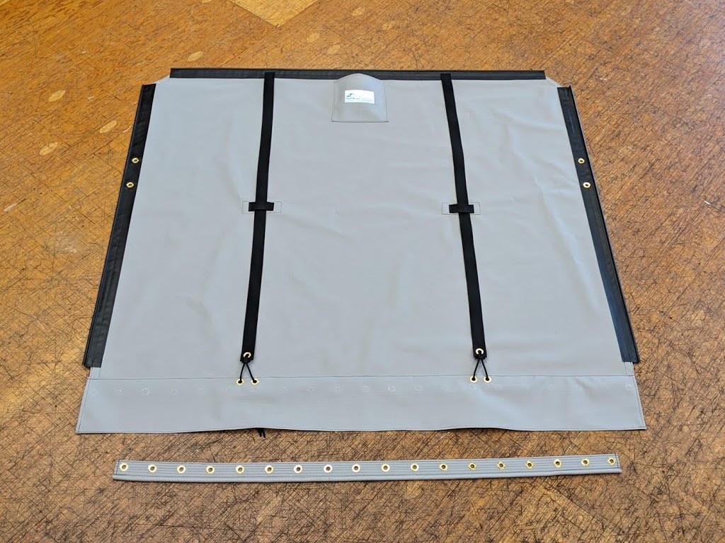 One piece Bias Cut Trampoline to fit a Hobie® 16 catamaran shown in Textilene 90 Dusk Grey premium mesh.