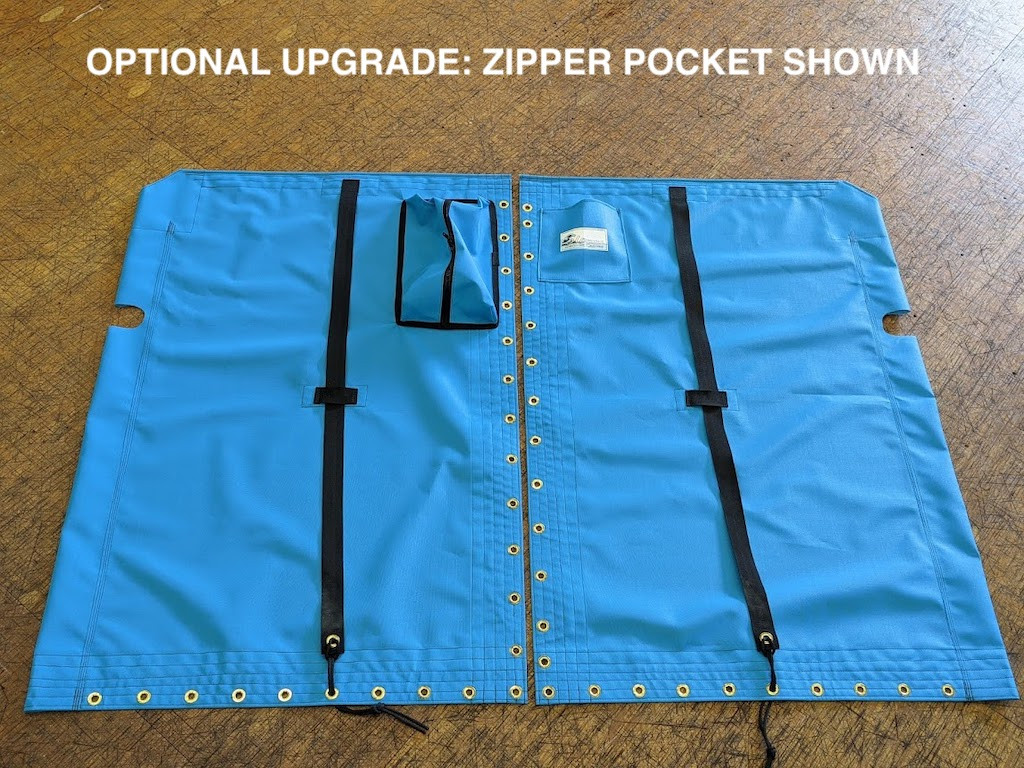 Venture 15 2pc. trampoline by SLO Sail and Canvas. Shown in Textilene 90 Lake Blue with an optional Zipper Pocket.