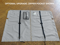 """Venture 15 Banana Hull catamaran 2pc trampoline - made by SLO Sail and Canvas in San Luis Obispo California USA. Hand pounded #4 brass spur grommets. Adjustable hiking straps made of 3"""" Polypropylene webbing. 12"""" X 12"""" halyard pocket, included. Optional Upgrade: Zipper Pocket (shown)."""