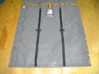 """Aft Trampoline to fit a G-Cat 5.0 catamaran made in America by skilled artisans at SLO Sail and Canvas. Hand pounded #4 brass spur grommets. Adjustable hiking straps made of 2"""" polypropylene webbing. 12"""" X 12"""" Halyard pocket, included. Shown in Textilene 90 Dusk Grey mesh."""