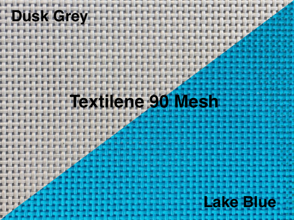 Made of high-quality and very durable PVC coated 1000 Denier Polyester Textilene 90 trampoline mesh, with your choice of color and thread type.