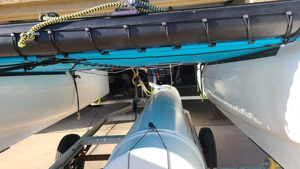 2pc Trampoline to fit a Hobie Getaway catamaran made in America by skilled artisans at SLO Sail and Canvas. Shown in Textilene 90 Lake Blue premium mesh.