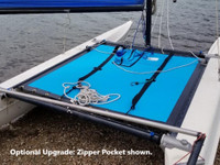 """Trac 14 Bias Cut catamaran trampoline - made in America by skilled artisans at SLO Sail and Canvas. Hand pounded #4 brass spur grommets. Adjustable hiking straps made of 3"""" Polypropylene webbing. Shown in Textilene 90 Lake Blue Mesh - with optional zipper pocket shown."""