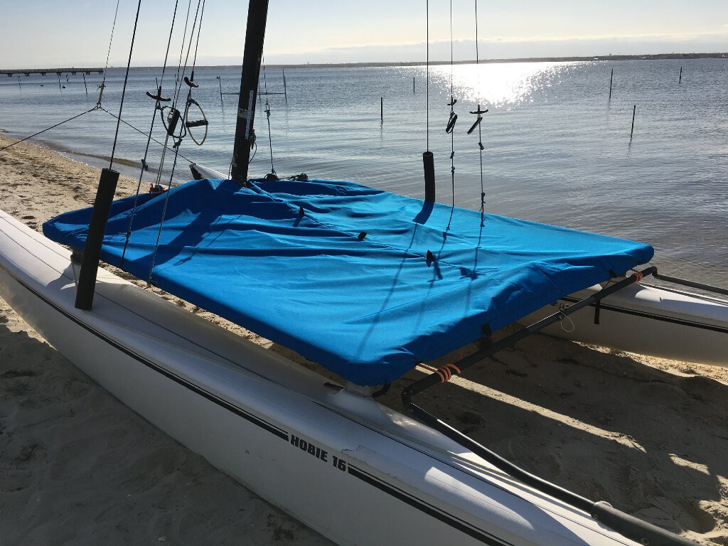 Our Trampoline Cover to fit a Hobie 16 comes in 3 fabric types and many color choices.