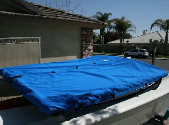 Web loops allow you to tent your Trampoline Cover to fit a Hobie 16 to discourage pooling.
