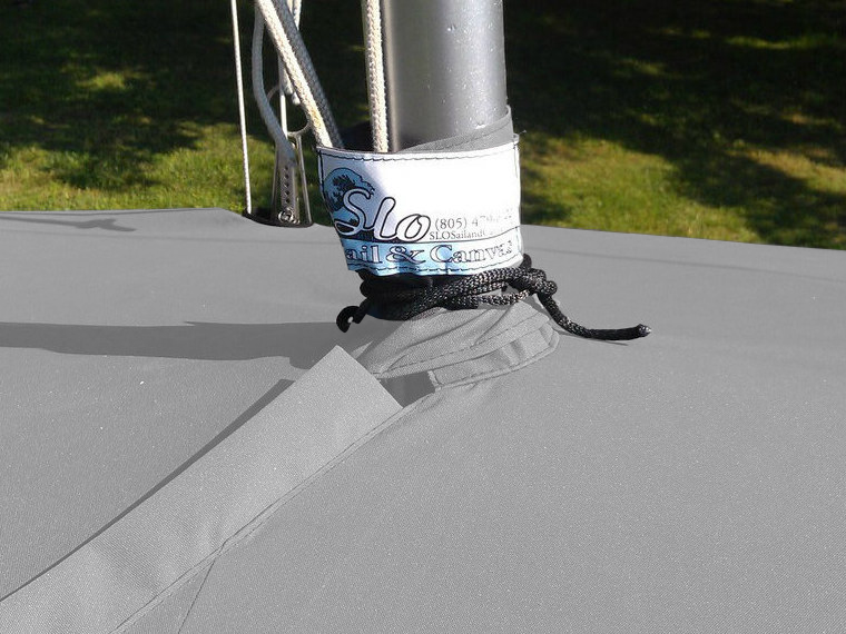 Sailboat Hull Cover by SLO Sail and Canvas. A mast collar fits tightly around your boat's mast.