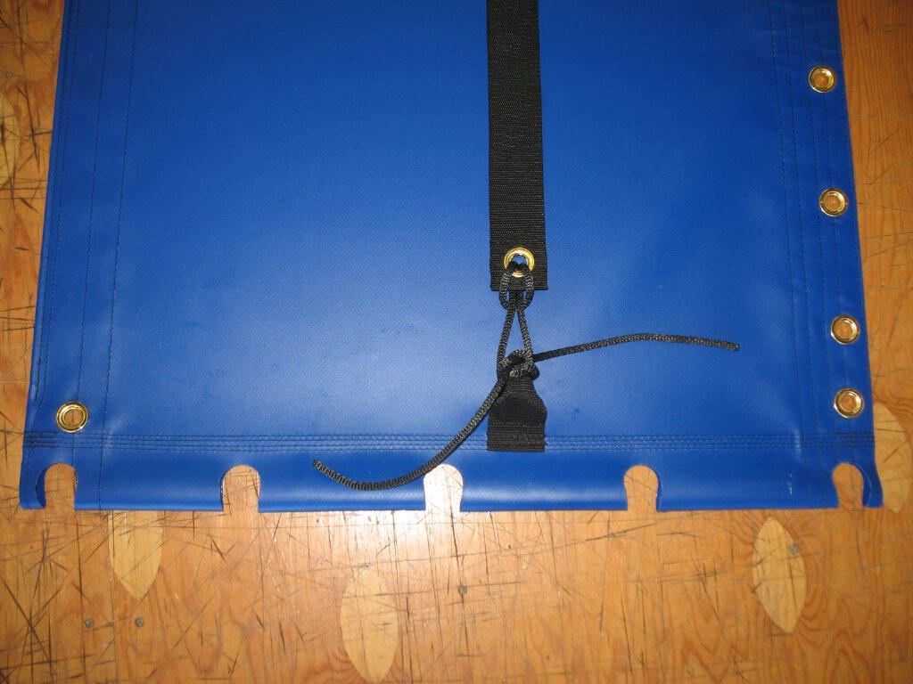 """Hand pounded #4 brass spur grommets. Adjustable hiking straps made of 3"""" Polypropylene webbing. 12"""" X 12"""" Halyard pocket, included."""