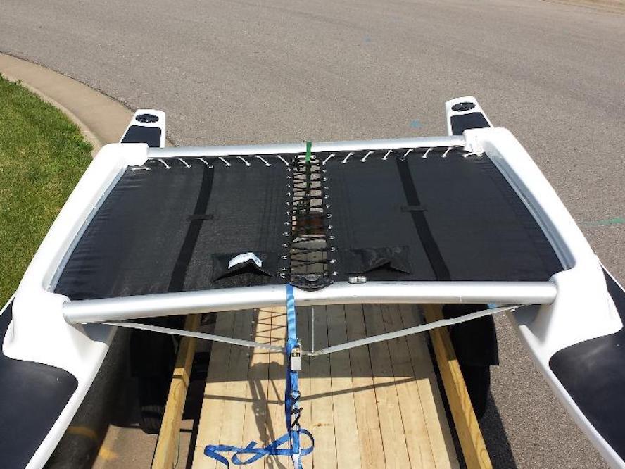 Taft 16 catamaran 3pc trampoline - shown in 8oz basket weave black Polypropylene mesh.