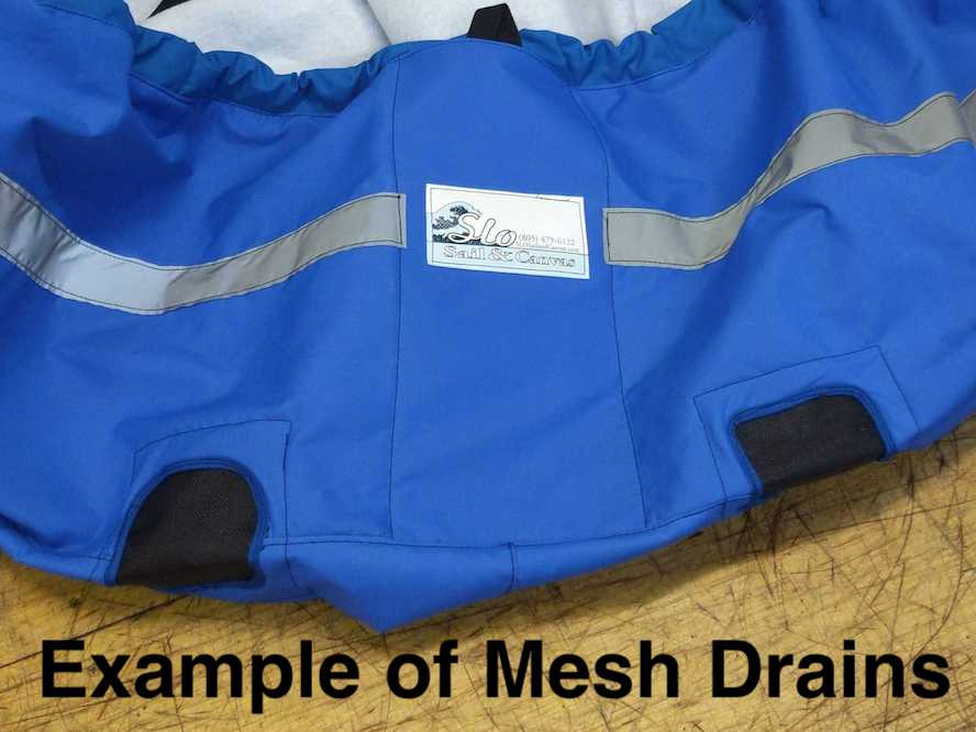 Optional Upgrade: Mesh Drains - allow water to drain away from your hull cover.