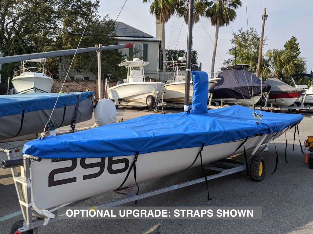 """Mast Up Flat Mooring Cover to fit a VX One sailboat by SLO Sail and Canvas. 1/4"""" shockcord is built into cover to secure your cover tightly around the boat's rubrail. Web Loops allow you to """"tent"""" your cover up to prevent pooling of water. All of our covers are patterned from the actual boats they are designed to fit. This make for a better, higher quality product. Optional: Straps upgrade shown in pic."""