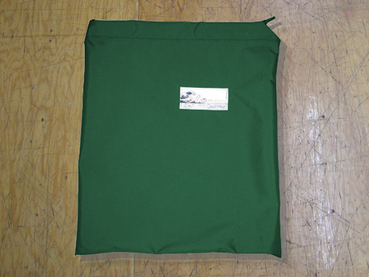 Folded Sail Bag made in America by skilled artisans at SLO Sail and Canvas. Shown in Polyester  Hunter Green.