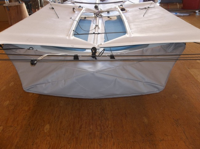 49er sailboat Hull Cover shown in SofTouch SIlver Gray. Available in 4 fabrics and many color choices.