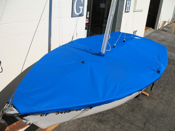 Sailboat Top Cover made in America by skilled artisans at SLO Sail and Canvas. Cover shown in Polyester Royal Blue. Available in 3 fabrics and many color choices.