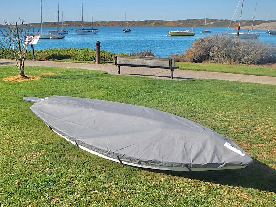 Sunfish Spars on Deck Top Cover (with optional straps) shown in Top Gun Sea Gull Gray.