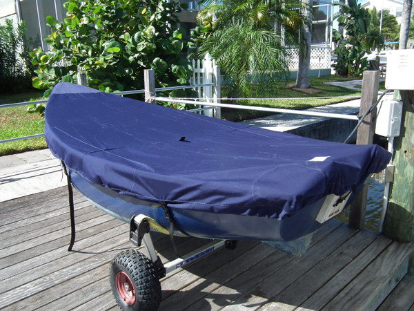 Bauer 10 Sailboat Top Cover - Polyester Navy Blue Deck Cover. Made in America by SLO Sail and Canvas.