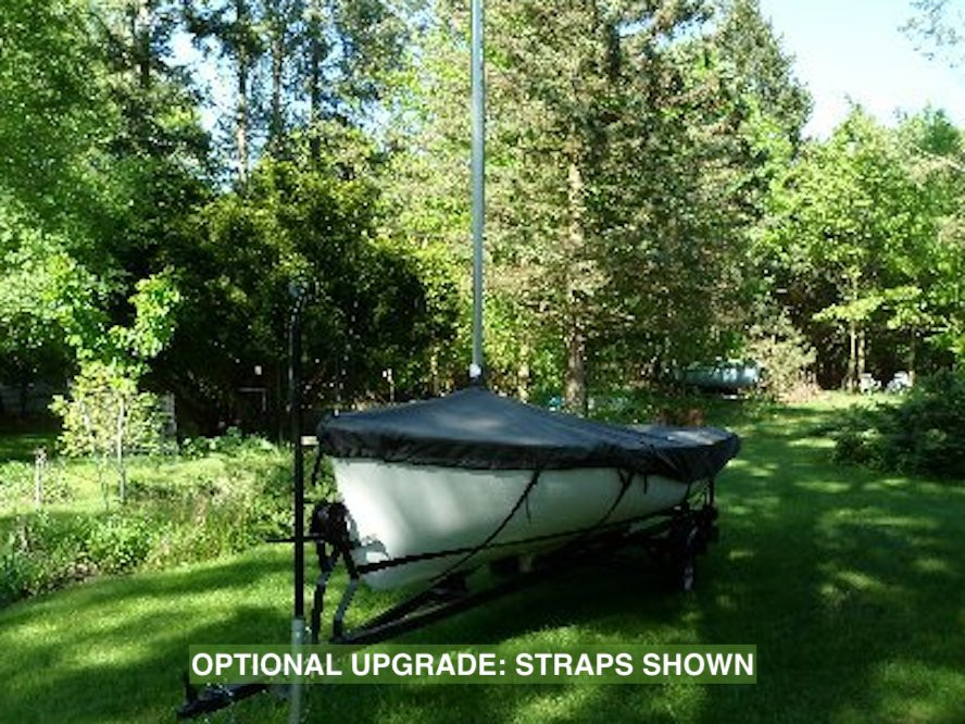 """Javelin Sailboat Mast Up Flat Cover by SLO Sail and Canvas. Shown in Polyester Charcoal Gray with optional """"straps"""" upgrade."""