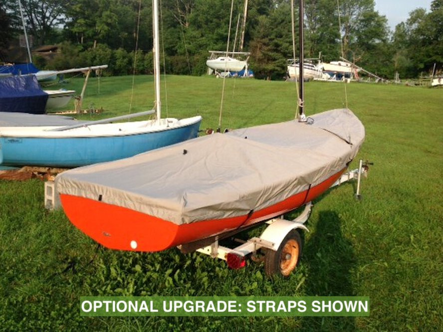"""Javelin Sailboat Mast Up Flat Cover by SLO Sail and Canvas. Shown in Sunbrella Cadet Gray with optional """"straps"""" upgrade."""