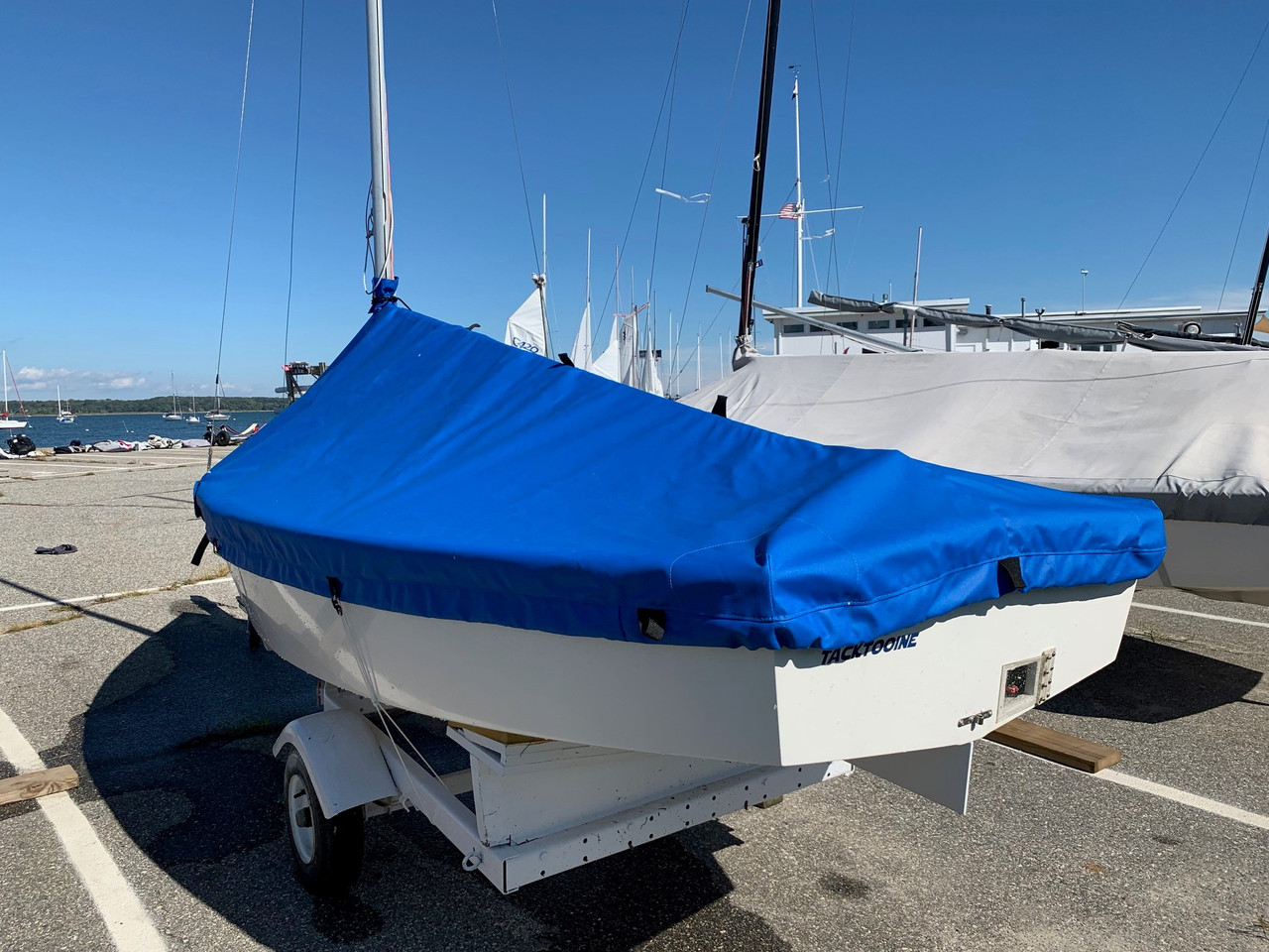 The Blue Jay Mast Up Peaked Cover by SLO Sail and Canvas - shown in Sunbrella Pacific Blue.