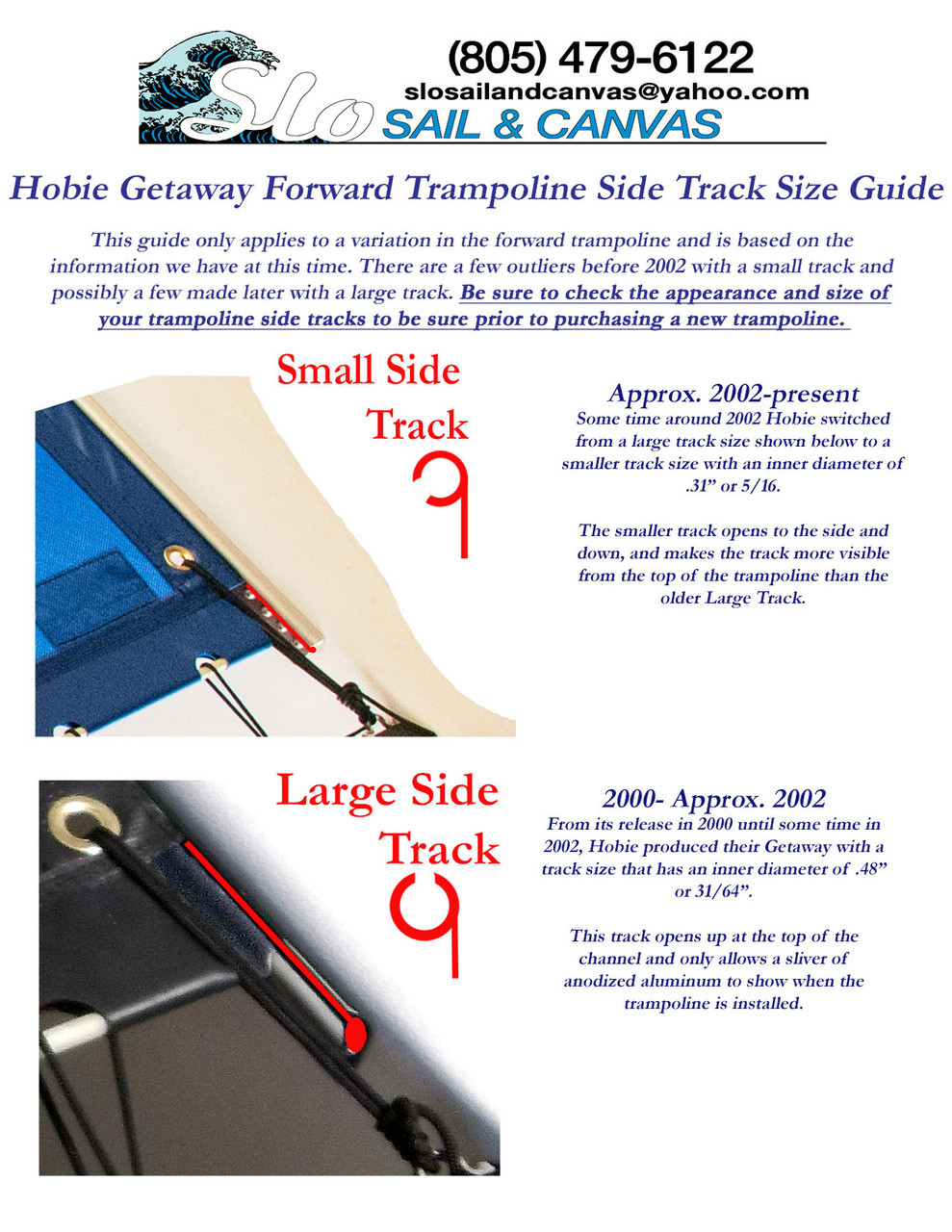 Track Size Guide for Forward Black Bias Cut Black Mesh Trampoline to fit a Hobie® Getaway