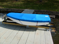Sailboat Hull Cover made in America by skilled artisans at SLO Sail and Canvas. Cover shown in Polyester Royal Blue. Available in 3 fabrics and many color choices.