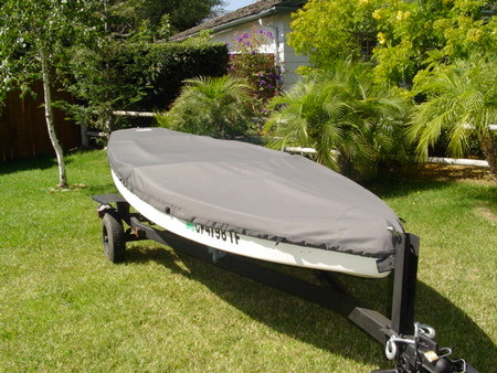 Sailboat Hull Cover made in America by skilled artisans at SLO Sail and Canvas. Cover shown in Sunbrella Cadet Gray. Available in 3 fabrics and many color choices.