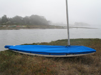 Minifish Sailboat Mast Up Flat Mooring Cover made in America by skilled artisans at SLO Sail and Canvas.