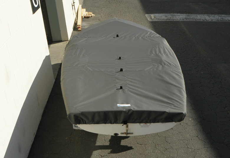 420 Sailboat Top Cover by SLO Sail and Canvas. Cover shown in Polyester Charcoal Gray. Available in 3 fabrics and many color choices.