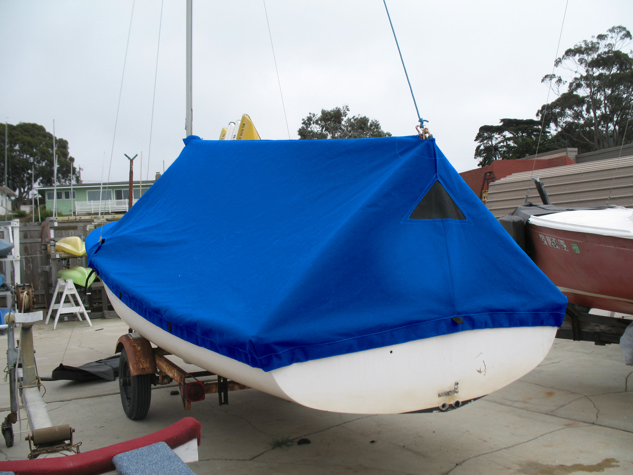 O'Day Daysailer sailboat Mast Up Tented Mooring Cover by SLO Sail and Canvas