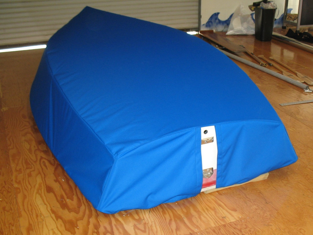 Sailboat Hull Cover by SLO Sail and Canvas. Choose either SPLIT or SOLID transom style. SPLIT style shown.