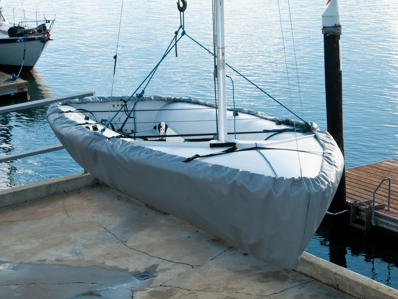 Flying Junior sailboat Hull Cover by SLO Sail and Canvas