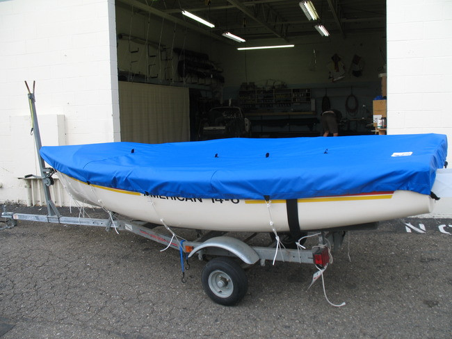 American 14.6 Top Deck Cover by SLO Sail and Canvas. Shown in Top Gun Caribbean Blue.