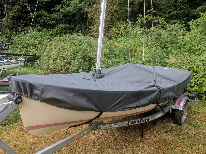 Megabyte Sailboat Hull Cover made in America by skilled artisans at SLO Sail and Canvas. Cover shown in Sunbrella Cadet Gray. Available in 3 fabrics and many color choices.