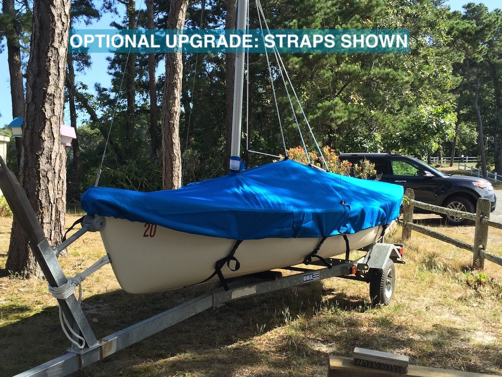 AMF Puffer Deck Cover by SLO Sail and Canvas. Shown in Sunbrella Pacific Blue fabric. Optional Upgrade: Straps with Fastex® Buckles shown.