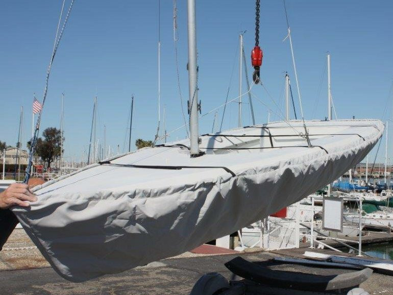 Vagabond 15 Sailboat Hull Cover made in America by skilled artisans at SLO Sail and Canvas.
