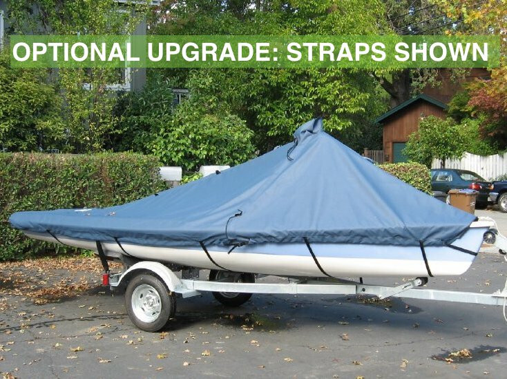 Vanguard 15 Sailboat Mast Up Peaked Mooring Cover made in America by skilled artisans at SLO Sail and Canvas. Cover shown in Sunbrella Cadet Gray. Available in 3 fabrics and many color choices.