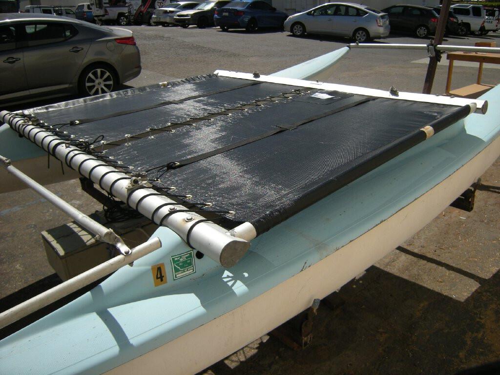 2 piece straight cut black mesh trampoline to fit a Venture 15 Banana Hull catamaran made by SLO Sail and Canvas in San Luis Obispo California USA.