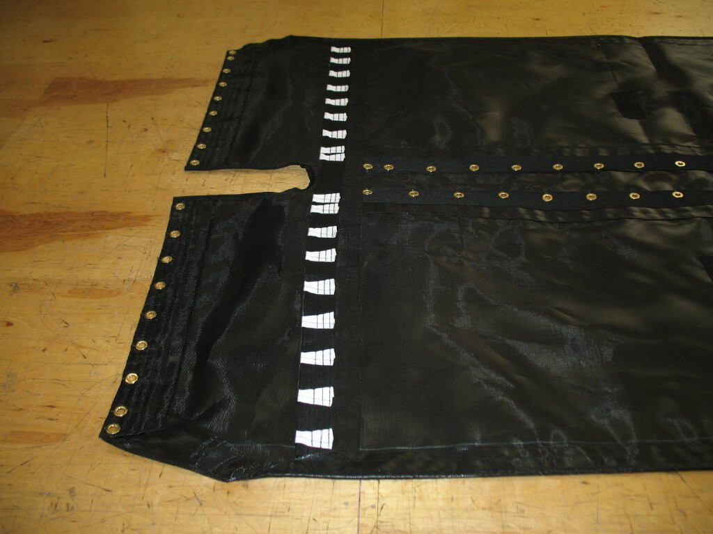 Supercat 17 Black Wrap Around Black Mesh Trampoline shown in 8oz basket weave black Polypropylene mesh.