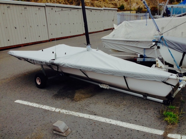 29'er Sailboat Mast Up Flat Mooring Cover made in America by skilled artisans at SLO Sail and Canvas.