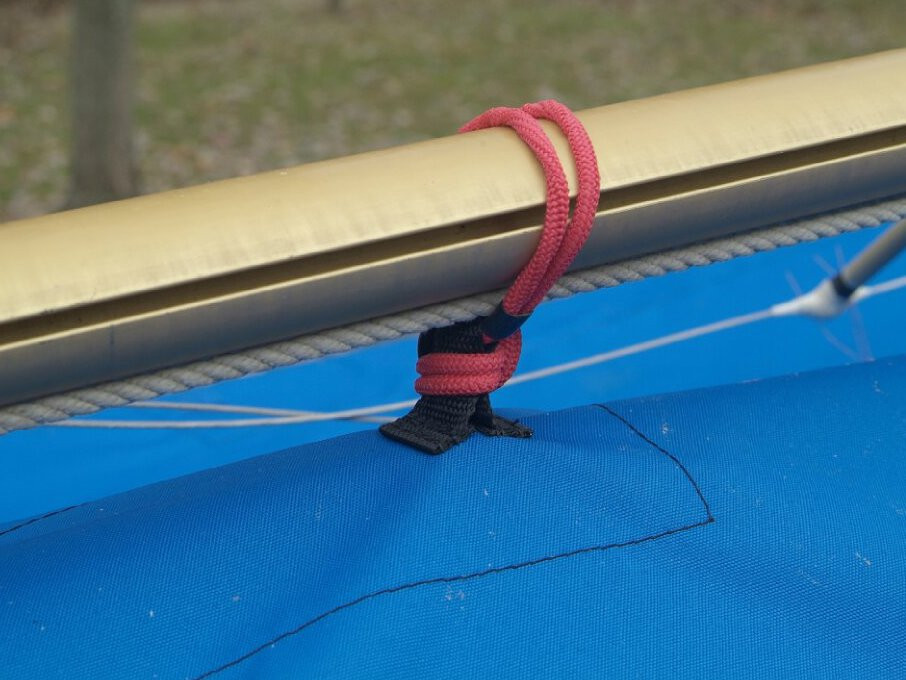 """Top Cover by SLO Sail and Canvas. Web Loops allow you to """"tent"""" your cover up to prevent pooling of water."""