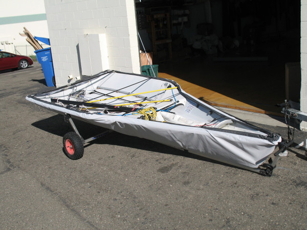 29'er Sailboat Hull Cover made in America by skilled artisans at SLO Sail and Canvas. Cover shown in SofTouch Silver Gray. Available in 4 fabrics and many color choices.