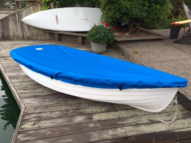 Walker Bay 8 Sailboat Top Cover made in America by skilled artisans at SLO Sail and Canvas. Cover shown in Polyester Royal Blue. Available in 3 fabrics and many color choices.