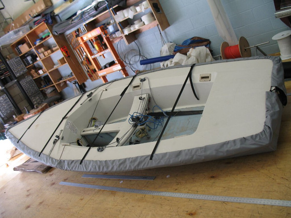 Tasar Sailboat Hull Cover made in America by skilled artisans at SLO Sail and Canvas.