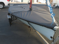 Tasar Mooring Cover made in America by skilled artisans at SLO Sail and Canvas. Cover shown in Polyester Royal Blue. Available in 3 fabrics and many color choices.