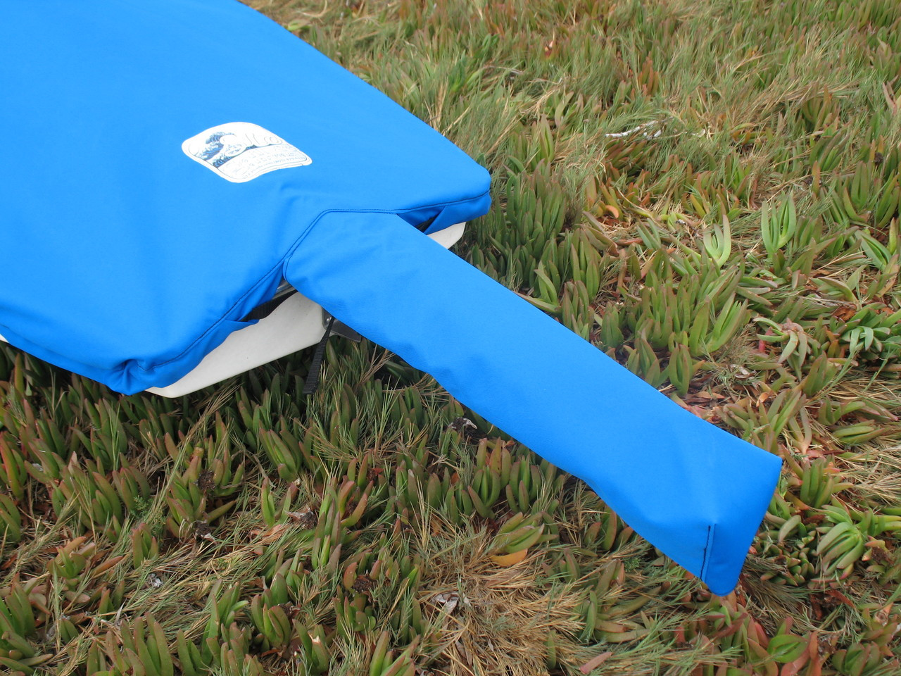 Sunfish Mast Up Flat Cover by SLO Sail and Canvas. Tail on cover protects your spars on deck.